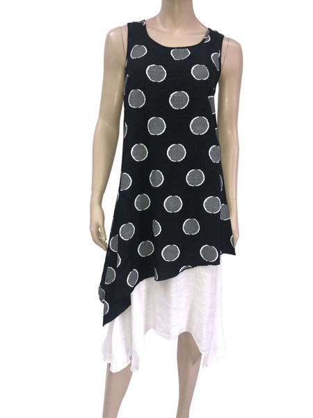 Women's Dresses Canada | Black Sleeveless Dress with Dots | On Sale | YM Style