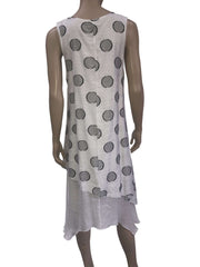 Women's Dresses on Sale Canada White Sleeveless Dress with Dots - Yvonne Marie - Yvonne Marie