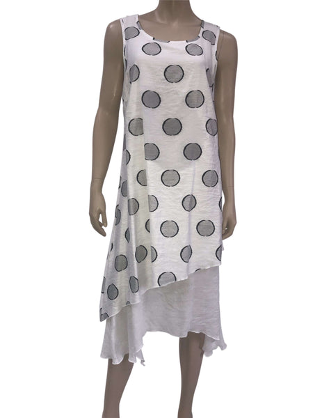 Women's White Sleeveless Dress with Dots