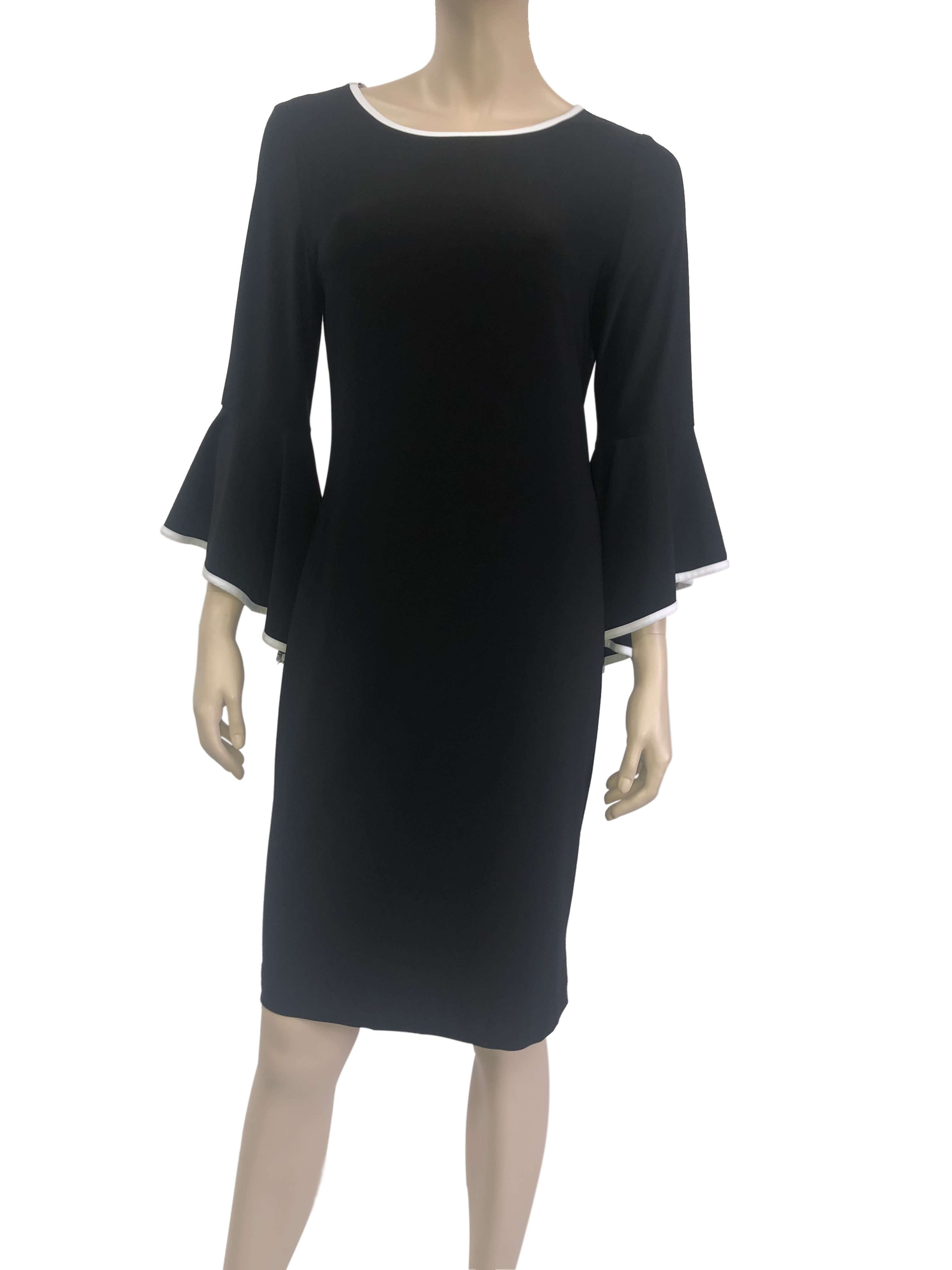Women's Dresses on Sale Black Classic Dress with Bell Sleeve - Made in Canada - Yvonne Marie - Yvonne Marie