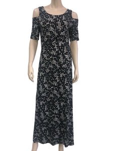Women's Maxi Dress Black and Grey Print Designer Original - Made in Canada - Yvonne Marie - Yvonne Marie