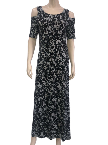 Women's Maxi Dress Canada | Black Printed Maxi Dress | On Sale | XL Size | YM Style
