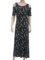 Women's Maxi Dress Canada | Black Printed Maxi Dress | On Sale | XL Size | YM Style - Yvonne Marie