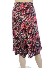 Women's Skirt Red Geo Print - Made in Canada - Yvonne Marie - Yvonne Marie