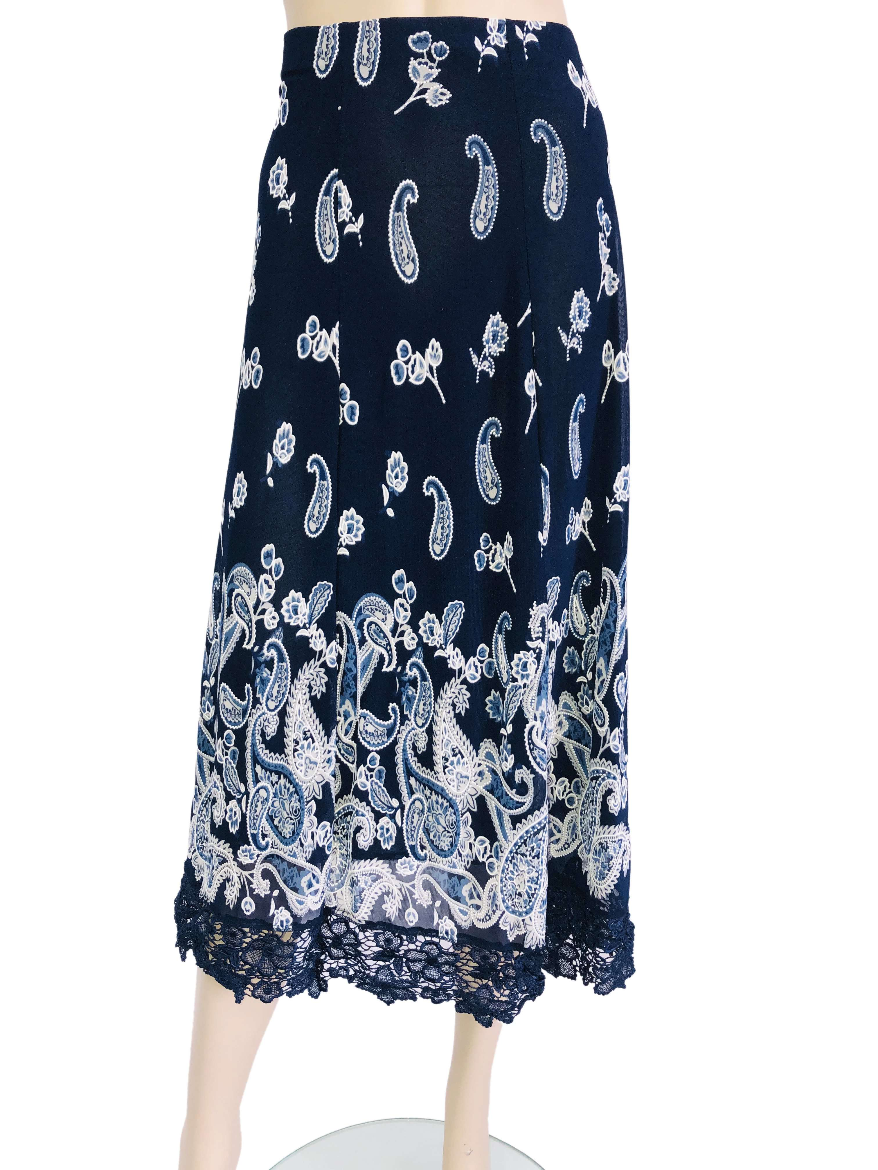 Skirts for Women Navy Print Fully lined Extra Large sizes Quality Fit - Yvonne Marie - Yvonne Marie