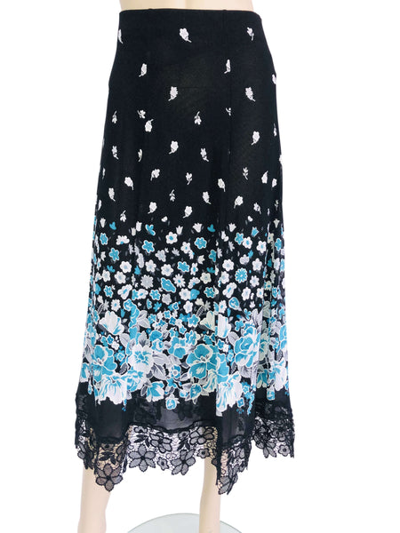Women's Black Printed Skirt