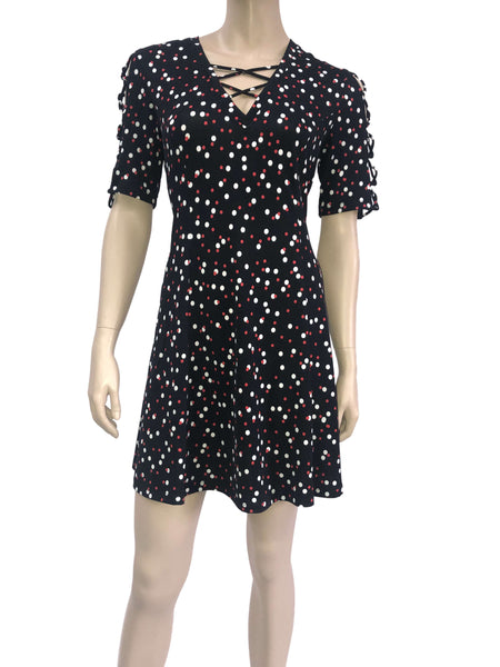 Women's Dresses Canada | Navy and Red Polka Dot Dress | YM Style