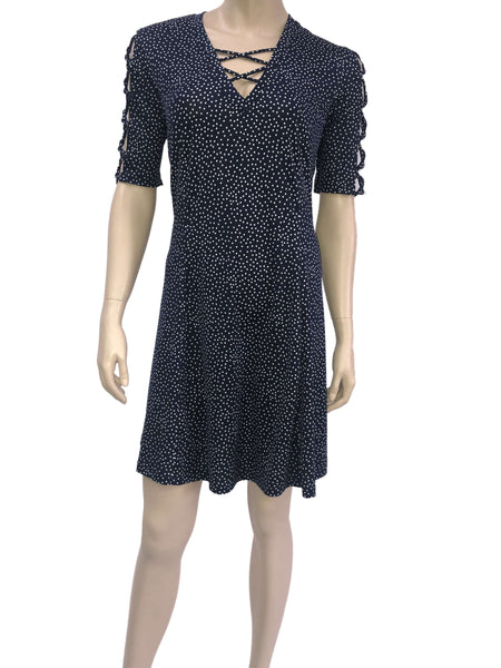 Women's Dresses Canada | Navy Polka Dot Dress | On Sale Now | YM Style