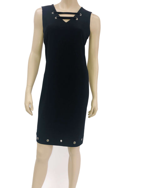 Women's Black Sleeveless Dress with Neckline Detail Made in Canada