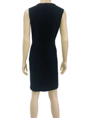 Women's Black Sleeveless Dress with Neckline Detail Made in Canada - Yvonne Marie - Yvonne Marie