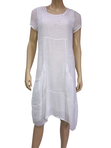 White Dress Canada Fully Lined with Crochet Details on Sale