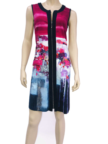 Women's Dresses Canada | Sleeveless Zipper Front Dress | Designer Colorful Print | YM Style