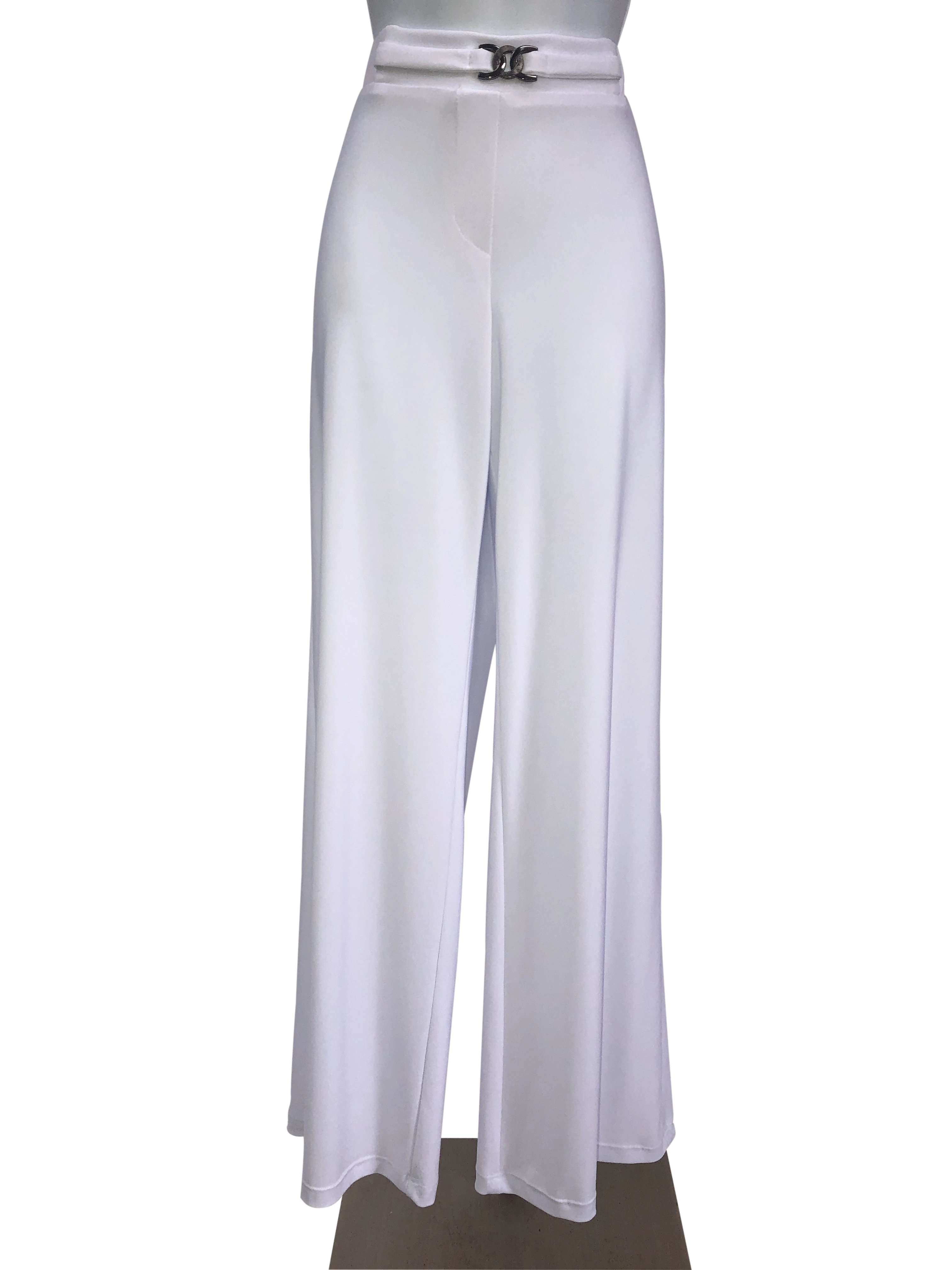 Women's White Stretch Pants - Yvonne Marie - Yvonne Marie