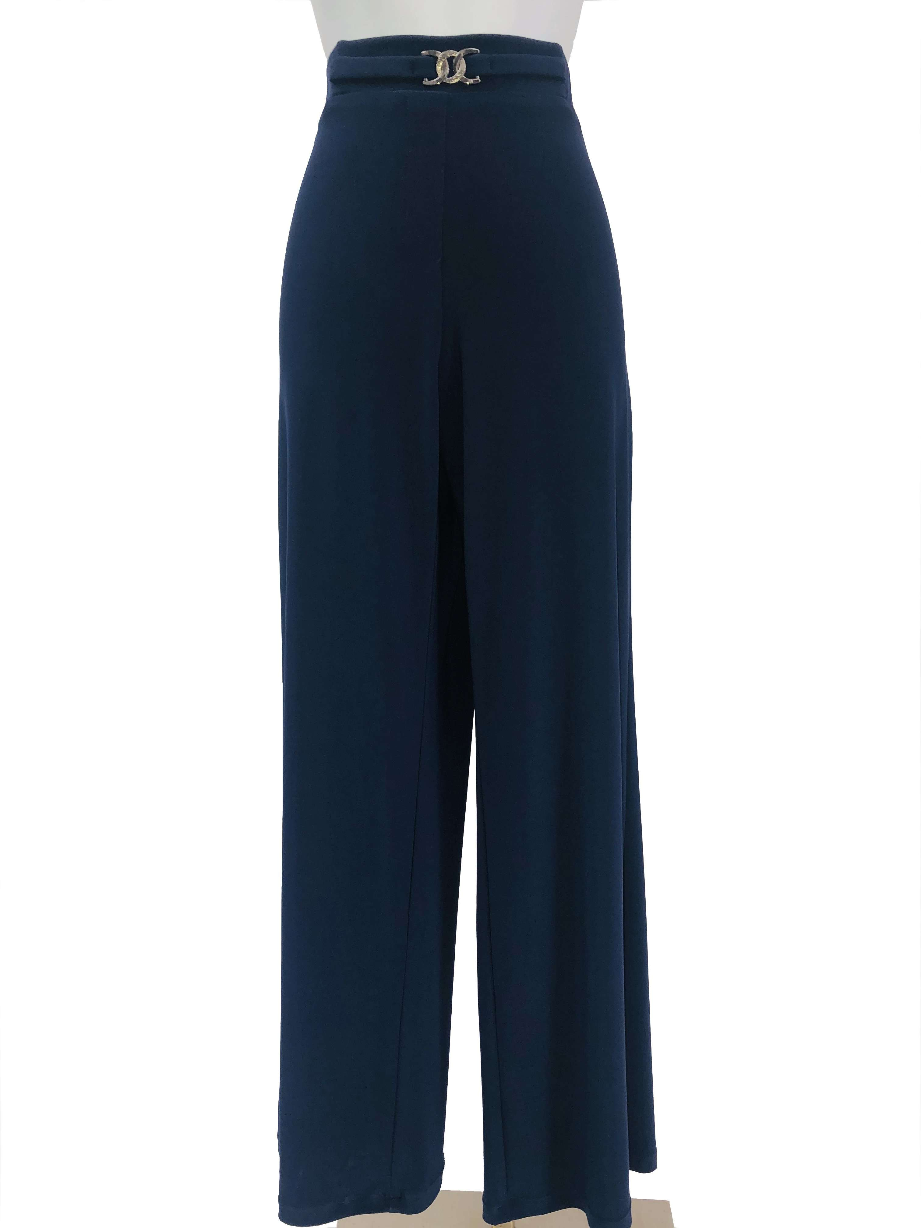 Women's Navy Stretch Pants - Yvonne Marie