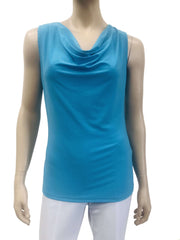 Womens Turquoise Draped Neck Camisole - Made in Canada - On Sale - Yvonne Marie - Yvonne Marie