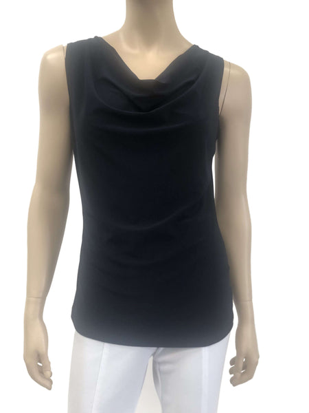 Womens Navy Draped Neck Camisole
