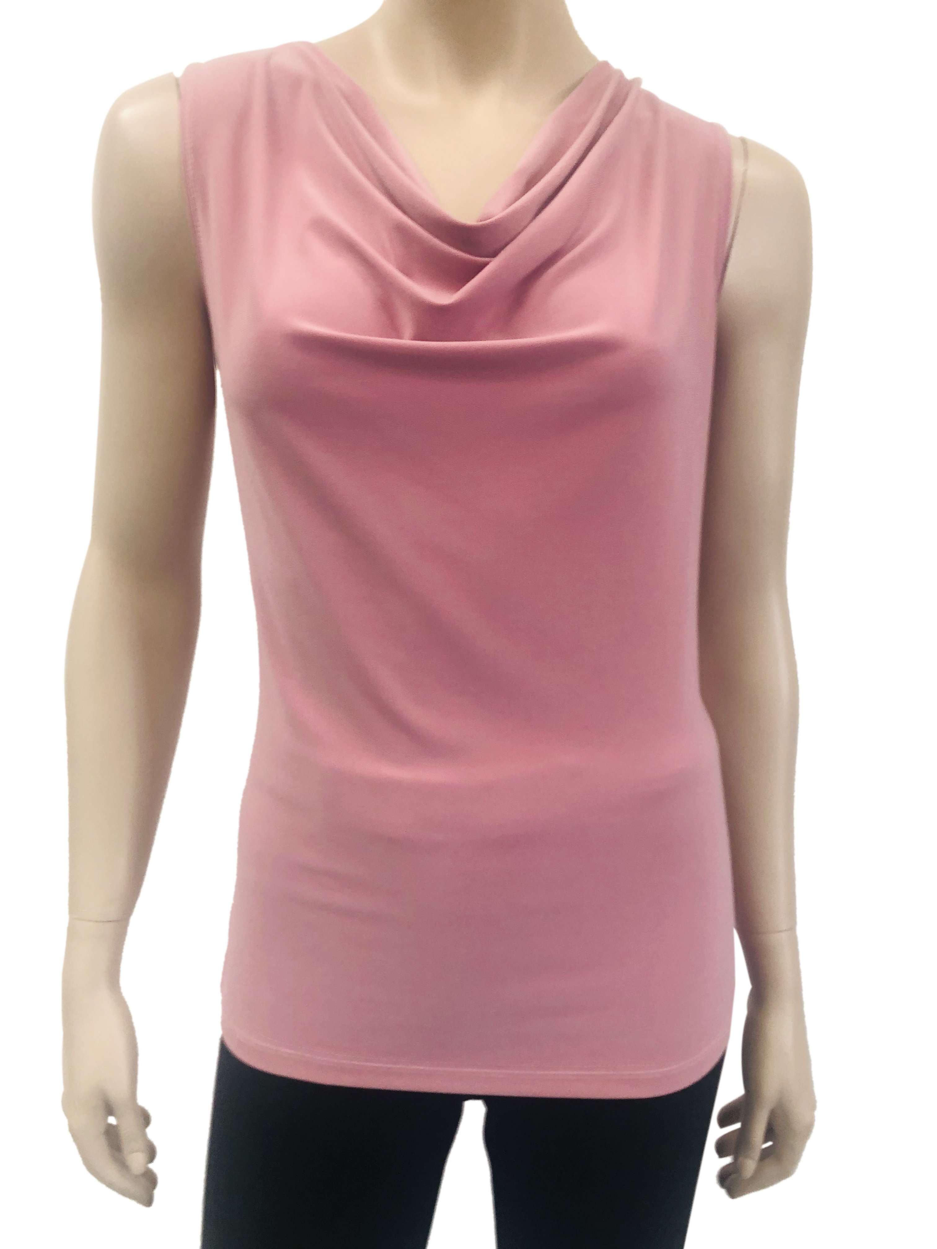 Women's Draped Neck Camisole Pink - Made in Canada- On sale - Yvonne Marie - Yvonne Marie