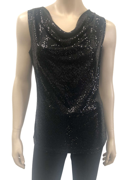Womens Black Sequined Camisole
