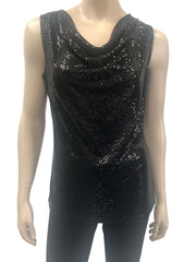 Women's Sequined Black Draped Neck Camisole - Made in Canada - Yvonne Marie - Yvonne Marie