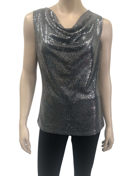 Womens Silver Sequined Camisole
