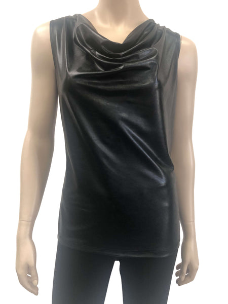 Womens Black Leather Camisole
