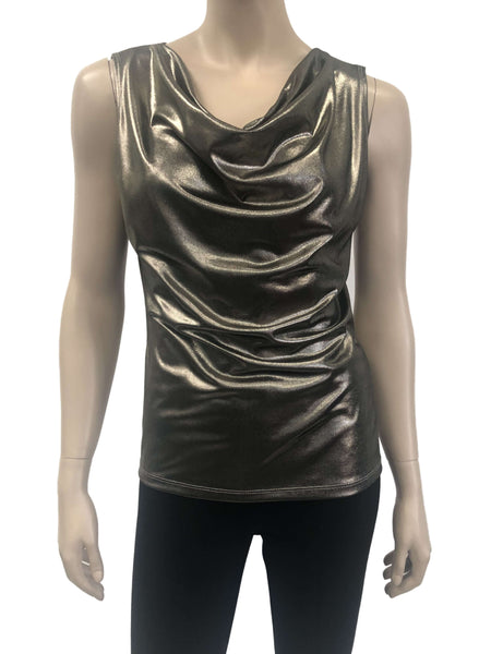 Women's Bronze Gold Draped Neck Top - On Sale - Made in Canada