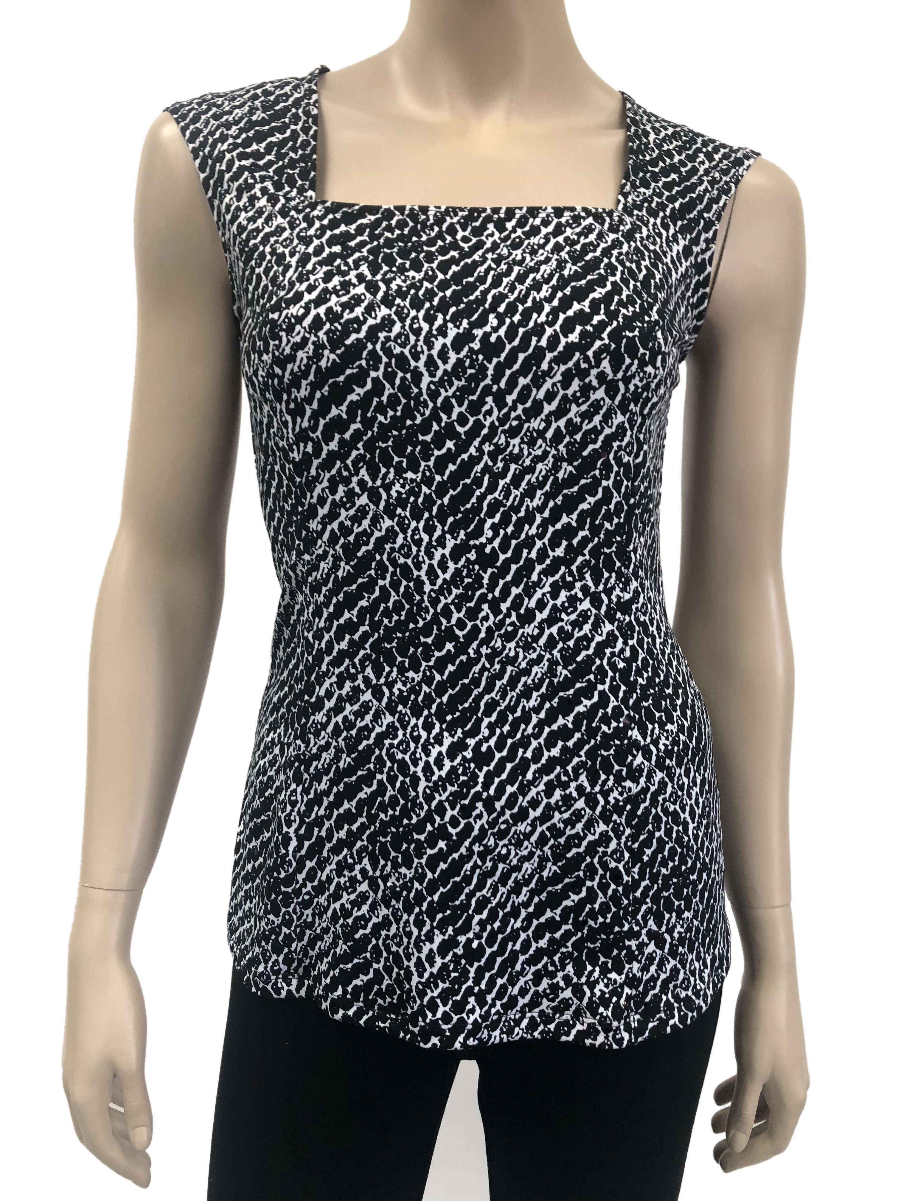 Womens Black And White Glitter Camisole - Yvonne Marie
