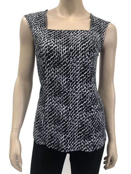 Womens Black And White Glitter Camisole