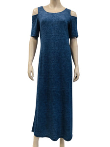 Women's Maxi Dress On Sale Denim Knit Quality Fabric - Made in Canada - Yvonne Marie - Yvonne Marie
