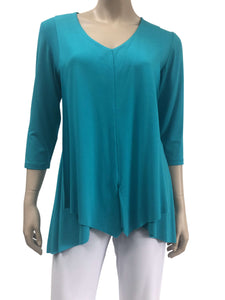 Women's Jade Green Blouse Flyaway Design Flattering Fit - Made in Canada - Yvonne Marie - Yvonne Marie