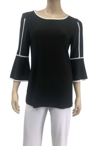 Elegant Tunic Top Black with White Trim - Yvonne Marie - Yvonne Marie