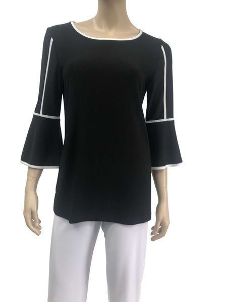 Elegant Tunic Top Black with White Trim