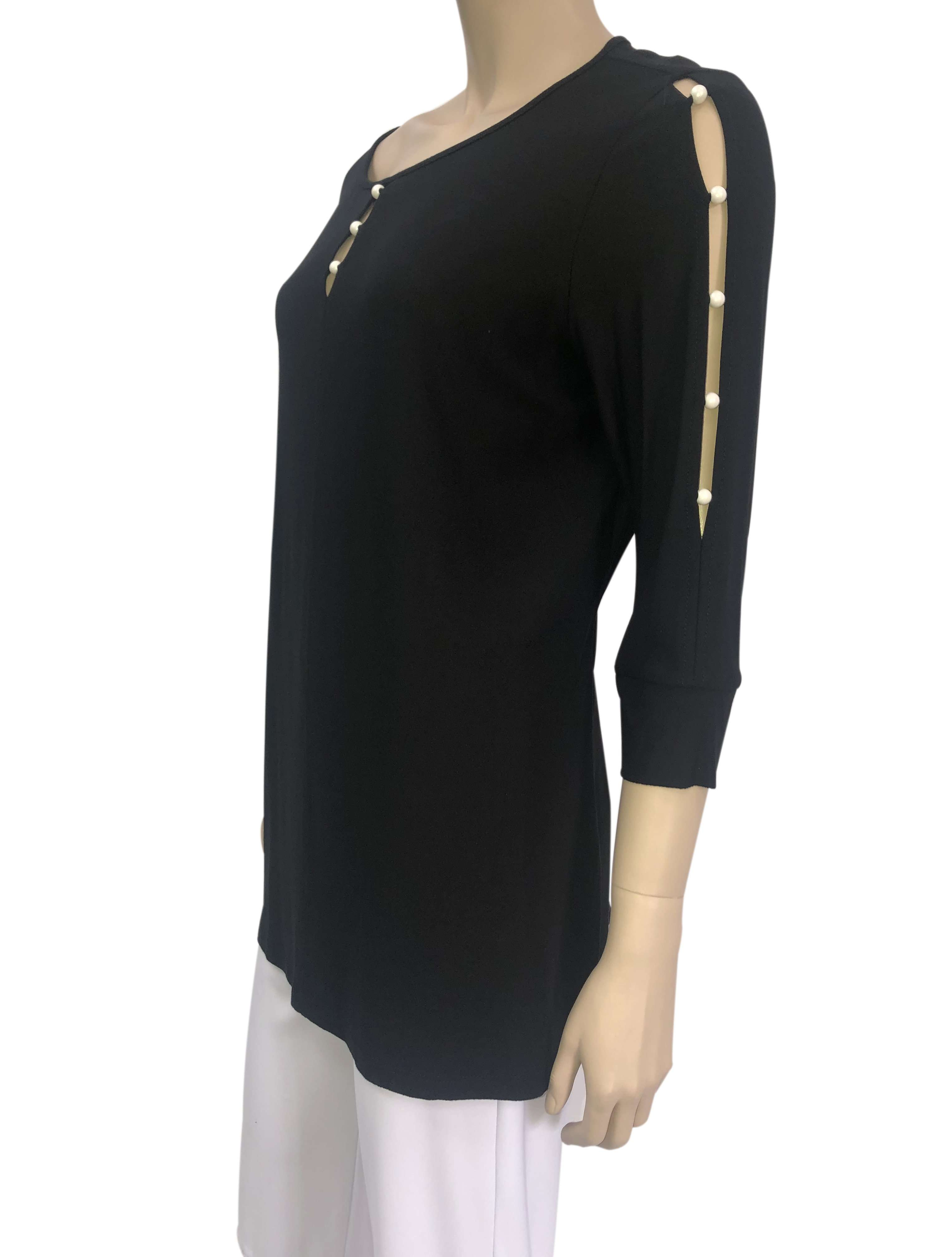 Women's Black Top with Pearls and Sleeve Detail - Made in Canada - XLarge Sizes - Yvonne Marie - Yvonne Marie