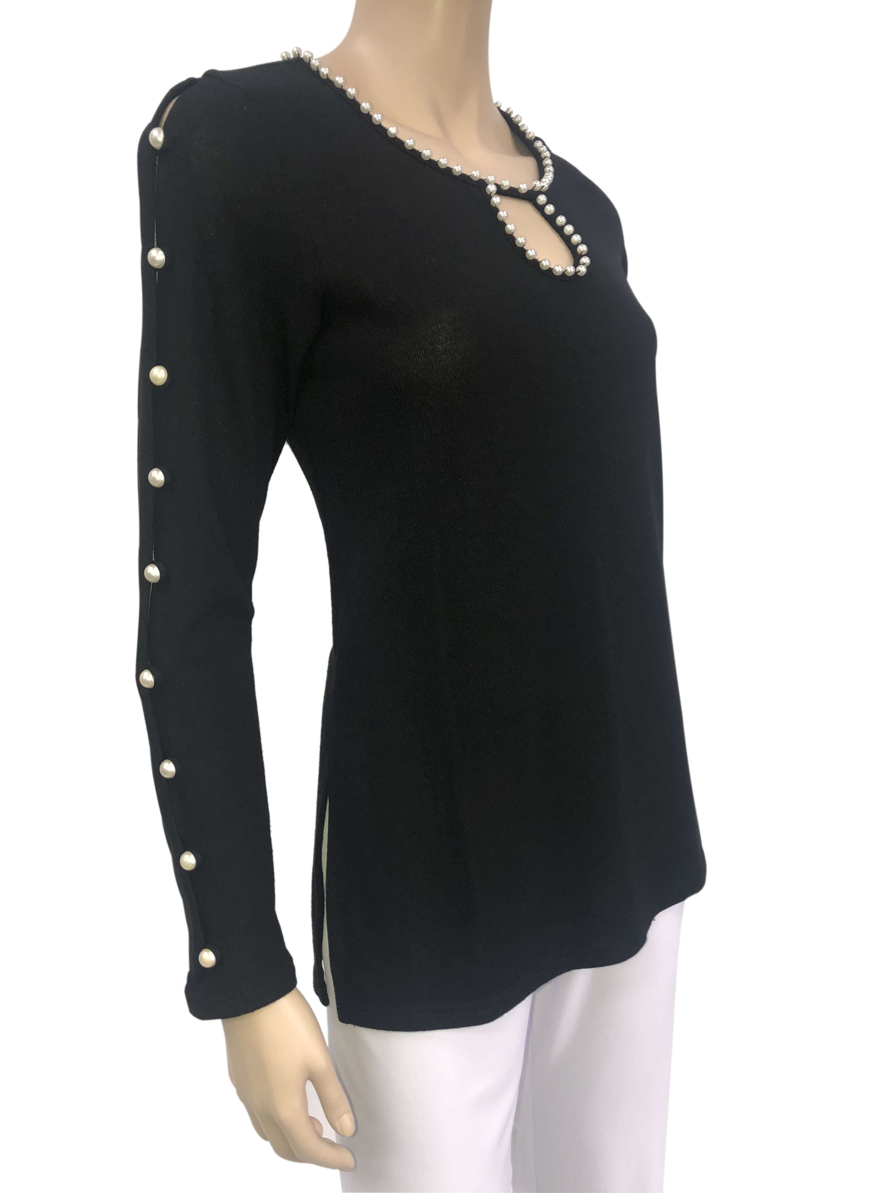 Women's Blouse Black with Pearl Details Beautiful Quality and Fit - Yvonne Marie - Yvonne Marie