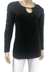 Womens Black Long Sleeve Sweater with Pearls - Yvonne Marie - Yvonne Marie