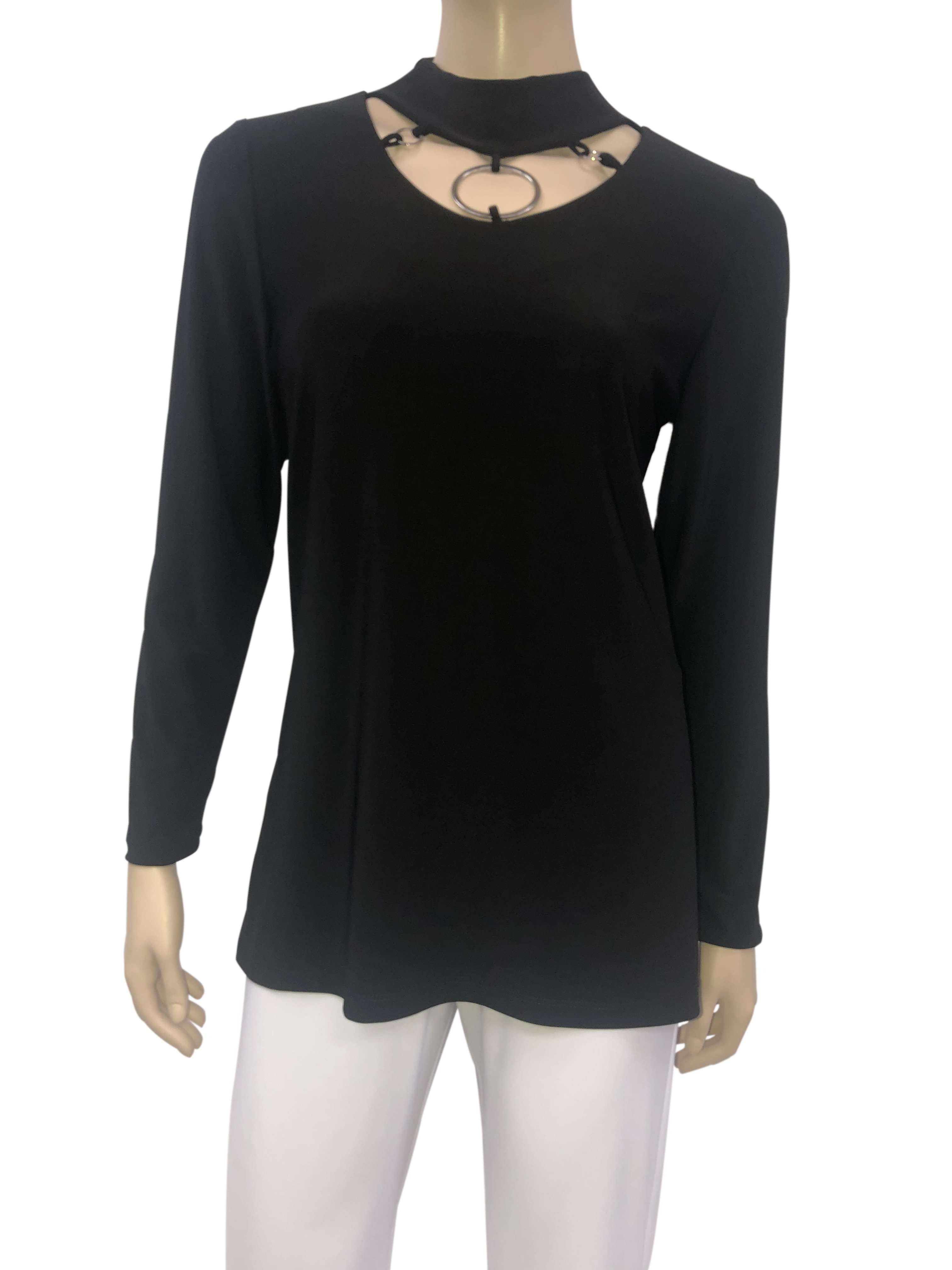 Black Elegant Choker Neck Sexy Tunic On Sale Now - Yvonne Marie - Yvonne Marie