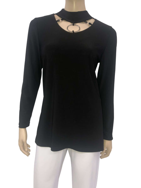 Women's Black Elegant Top On Sale- Stunning Neckline-Made In Canada-Shop Local