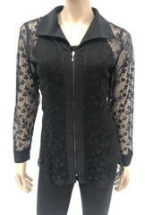 Women's Blouse on Sale Black Lace with Zipper Front - Made in Canada - Yvonne Marie - Yvonne Marie