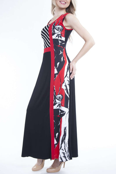Maxi Dress in Black and Red Design