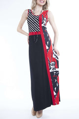 Women's Designer Dress Montreal| Red and Black Maxi Dress | On Sale | YM Style - Yvonne Marie