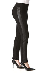 Women's Black Pants With Leather - Made In Canda - Yvonne Marie - Yvonne Marie