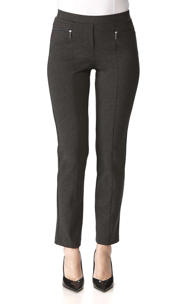 Women's Pants Charcoal Zipper Front Detail -Made in Canada