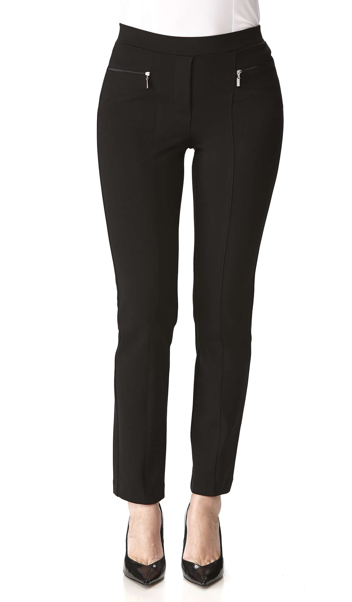 Women's Black Pants Zipper Front Detail - Comfort and Quality-Made in Canada - Yvonne Marie - Yvonne Marie