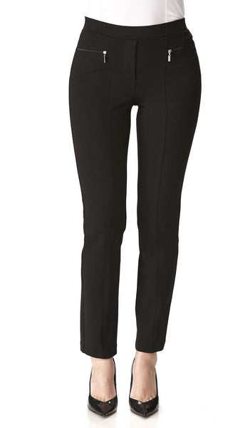 Women's Black Pants Zipper Front Detail - Comfort and Quality-Made in Canada