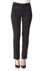 Women's Pants Navy with Zipper Front Detail - Made in Canada - Yvonne Marie - Yvonne Marie