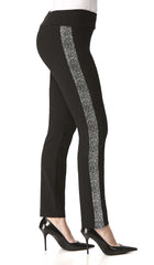 Women's Pants Black with Silver Side Details-Comfort Fit-Made in Canada - Yvonne Marie - Yvonne Marie
