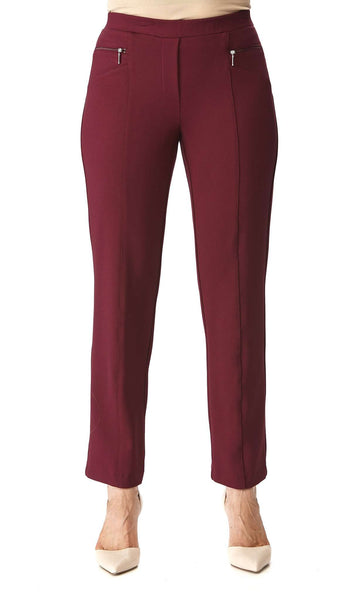 Women's Pants Wine Color with Zipper Front Detail - Made in Canada