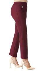 Women's Pants Wine Color with Zipper Front Detail - Made in Canada - Yvonne Marie - Yvonne Marie