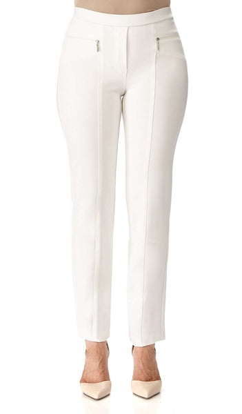 Women's Pants Off White With Zipper Front Detail - Made in Canada