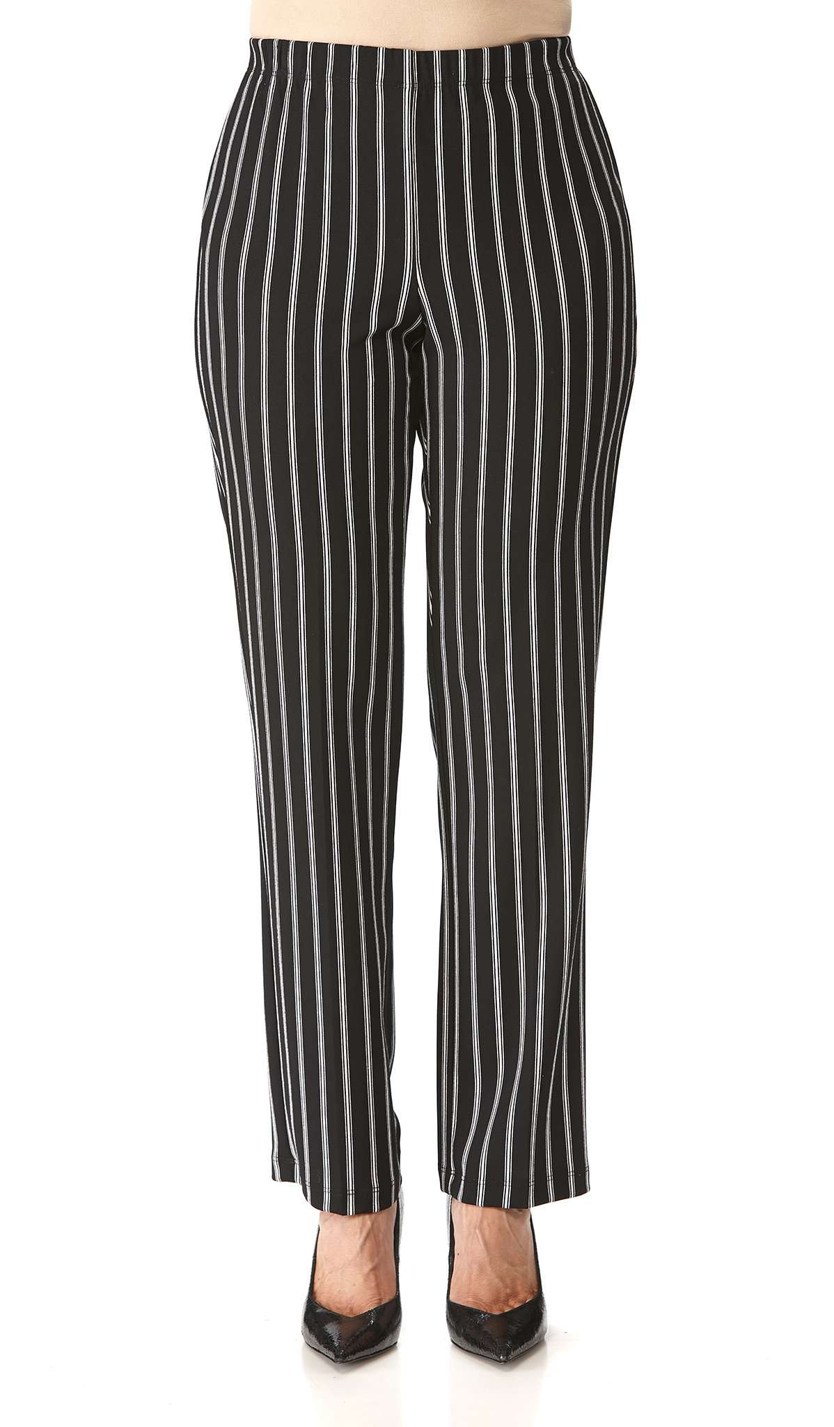 Women's White Pinstriped Black Pants - Yvonne Marie - Yvonne Marie